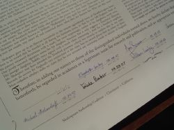 Signatures on the Declaration: Sir Derek Jacobi signed last